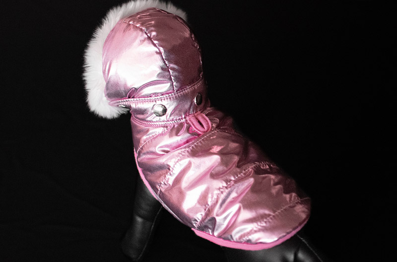 Pink Metallic Winter Dog Coat