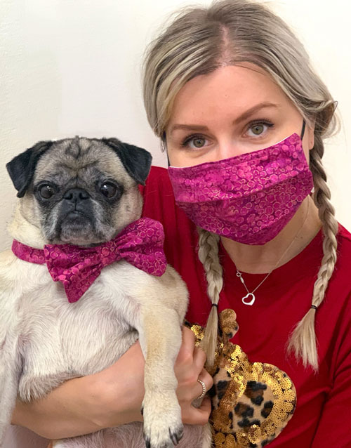 Face Masks with Matching Dog Bow Tie