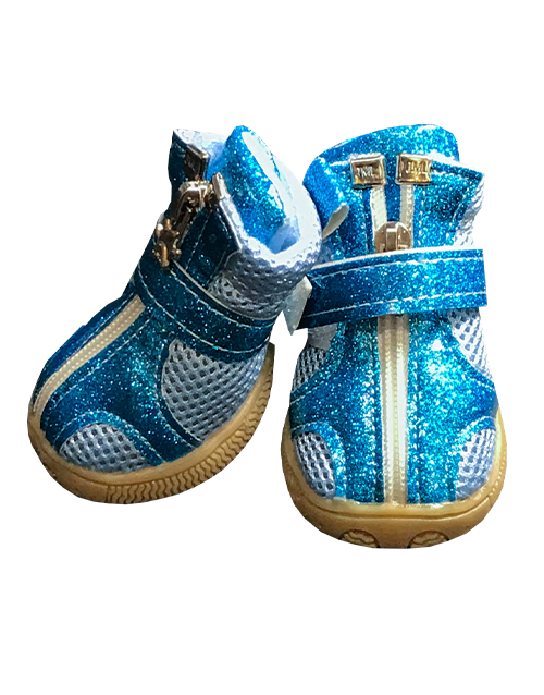 blue glitter dog booties
