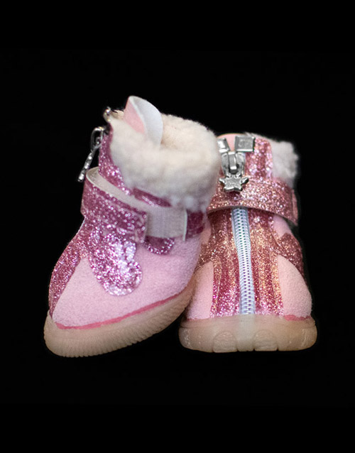 Pink furlined dog booties