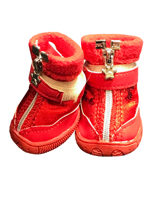red winter dog boots