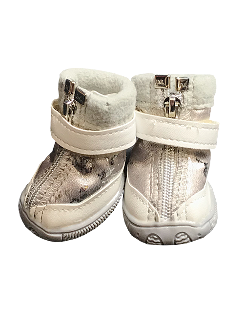 Silver winter dog boots