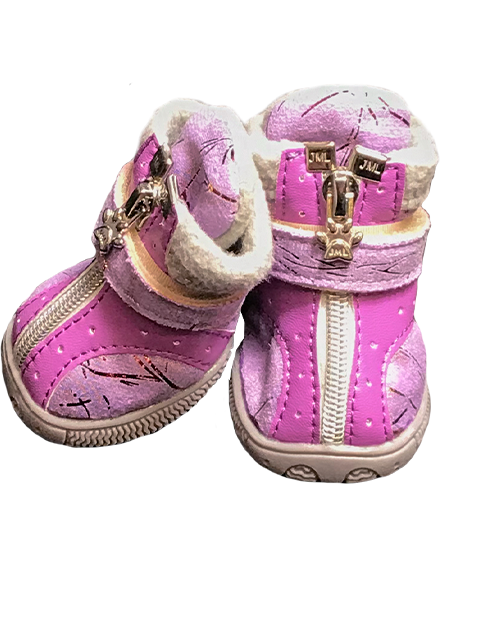 Purple winter dog boots