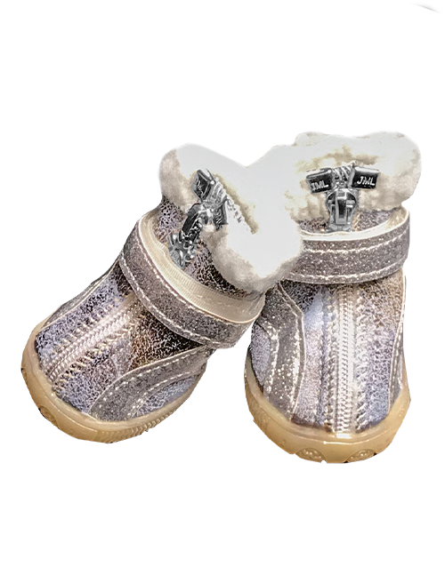 Silver fur lined dog booties