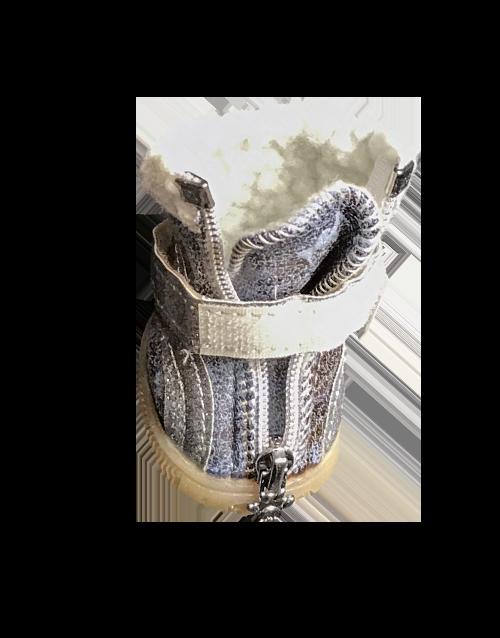 silver winter dog bootie