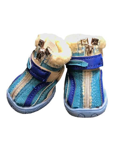blue fleece lined dog booties