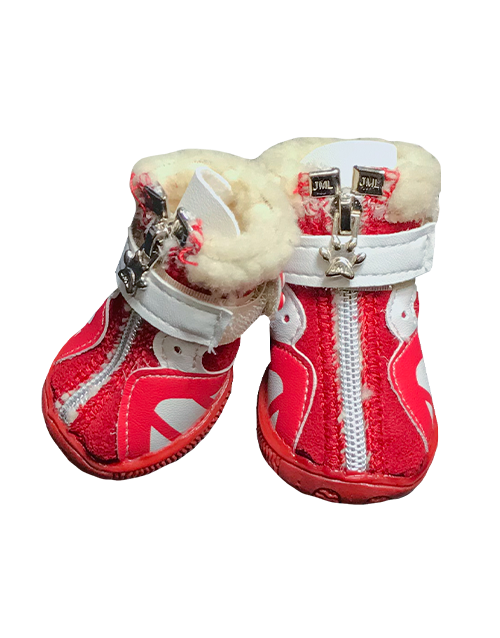Red fur lined dog boots