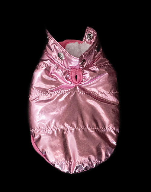 Pink winter dog coat removable hood