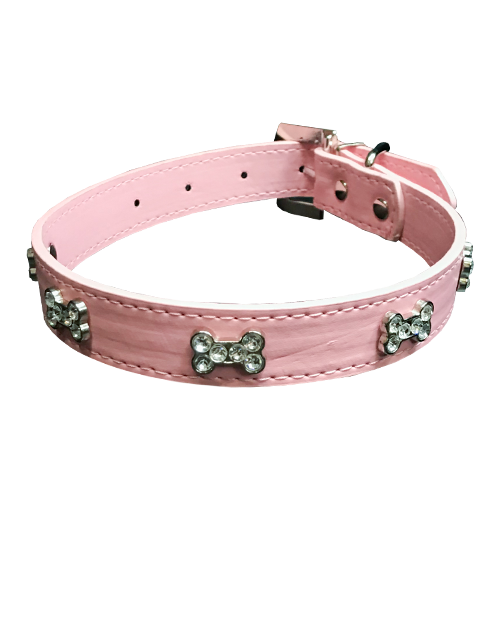 studded bone diamond pink dog collar