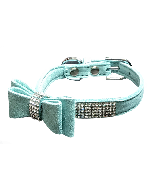 mint dog collar with diamonds