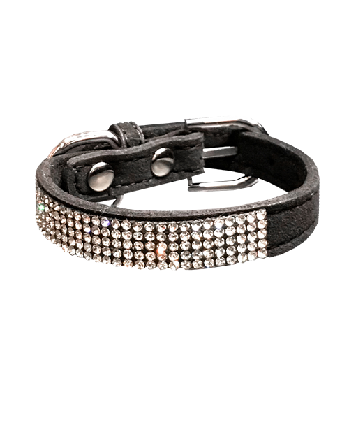 black diamond studded dog collar