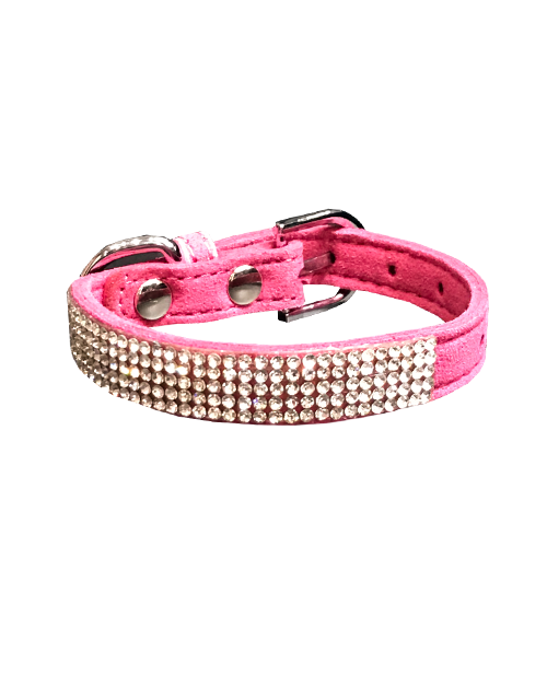 pink studded diamond dog collar