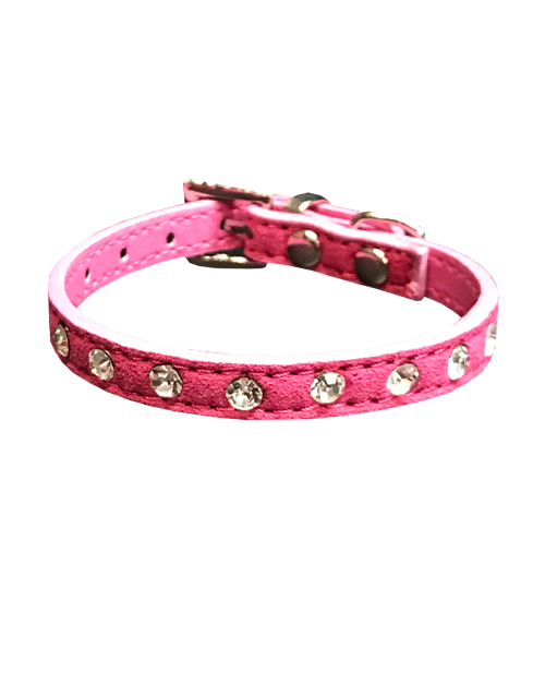 studded diamond pink dog collar