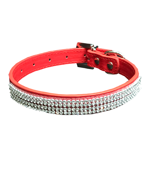 red dog collar with diamonds