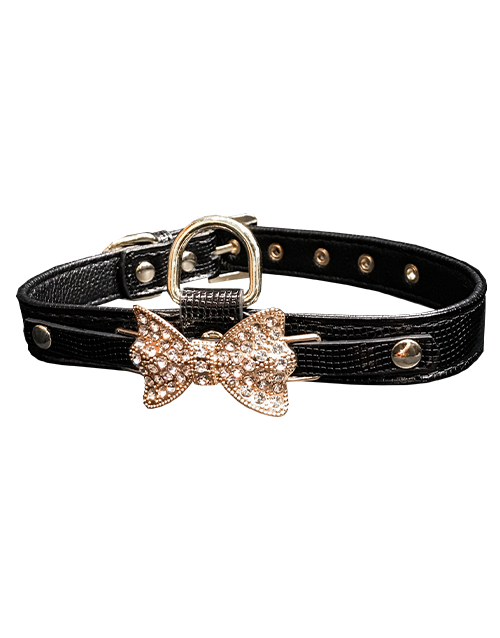 black dog collar with diamond bowtie