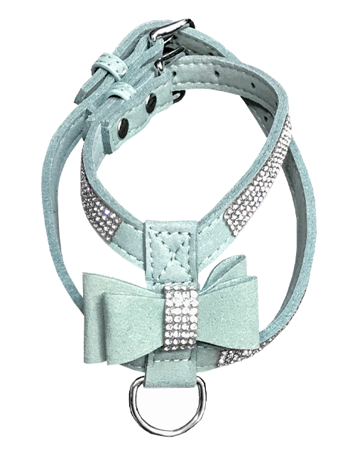 mint dog harness with diamonds