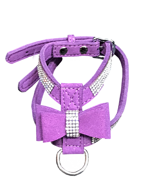 Purple dog harness with diamonds