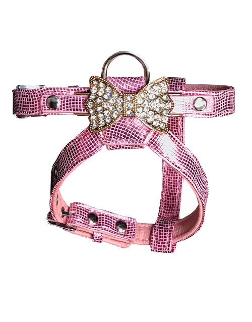 Pink diamond bow charm dog harness