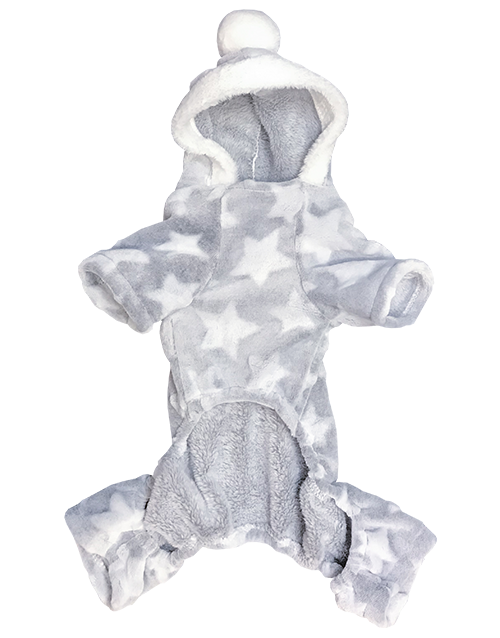 Grey fleece dog onesie