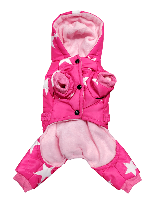 hot pink dog snowsuit with stars