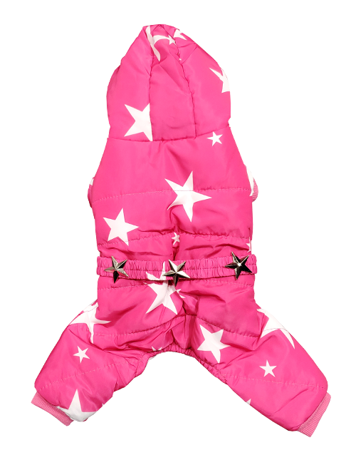 pink dog snowsuit with stars