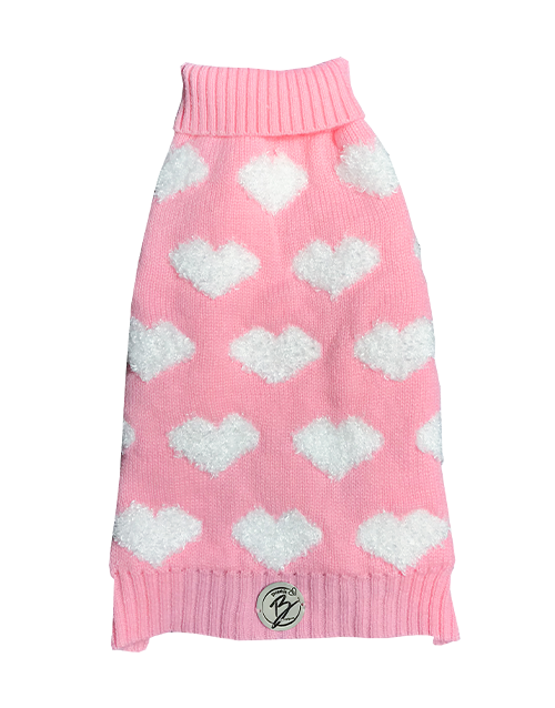 dog sweater with hearts