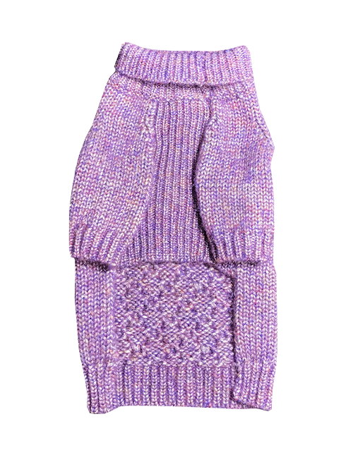 Purple knitted dog sweater